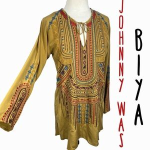 Johnny Was size M mustard yellow silk embroidered tunic